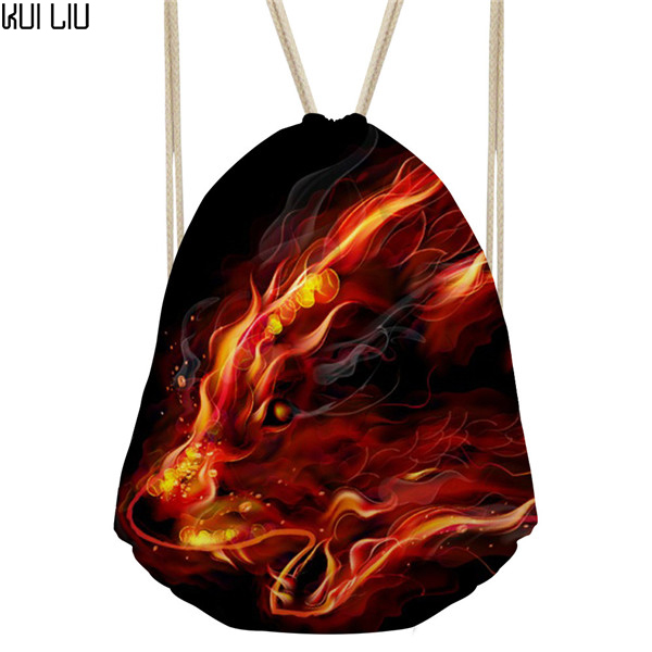Customized Fire Series Men Softback Backpack Cool 3D Fire Wolf Printed Men's Mochila Small Drawstring Bag Kids School Bags Bag