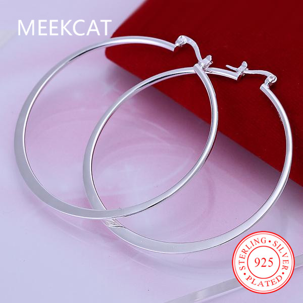 Fashion 925 Silver Ear Creole Round 5.5cm Big circles Hoop Earrings Prata Princo Punk Silver Plated Women Girls