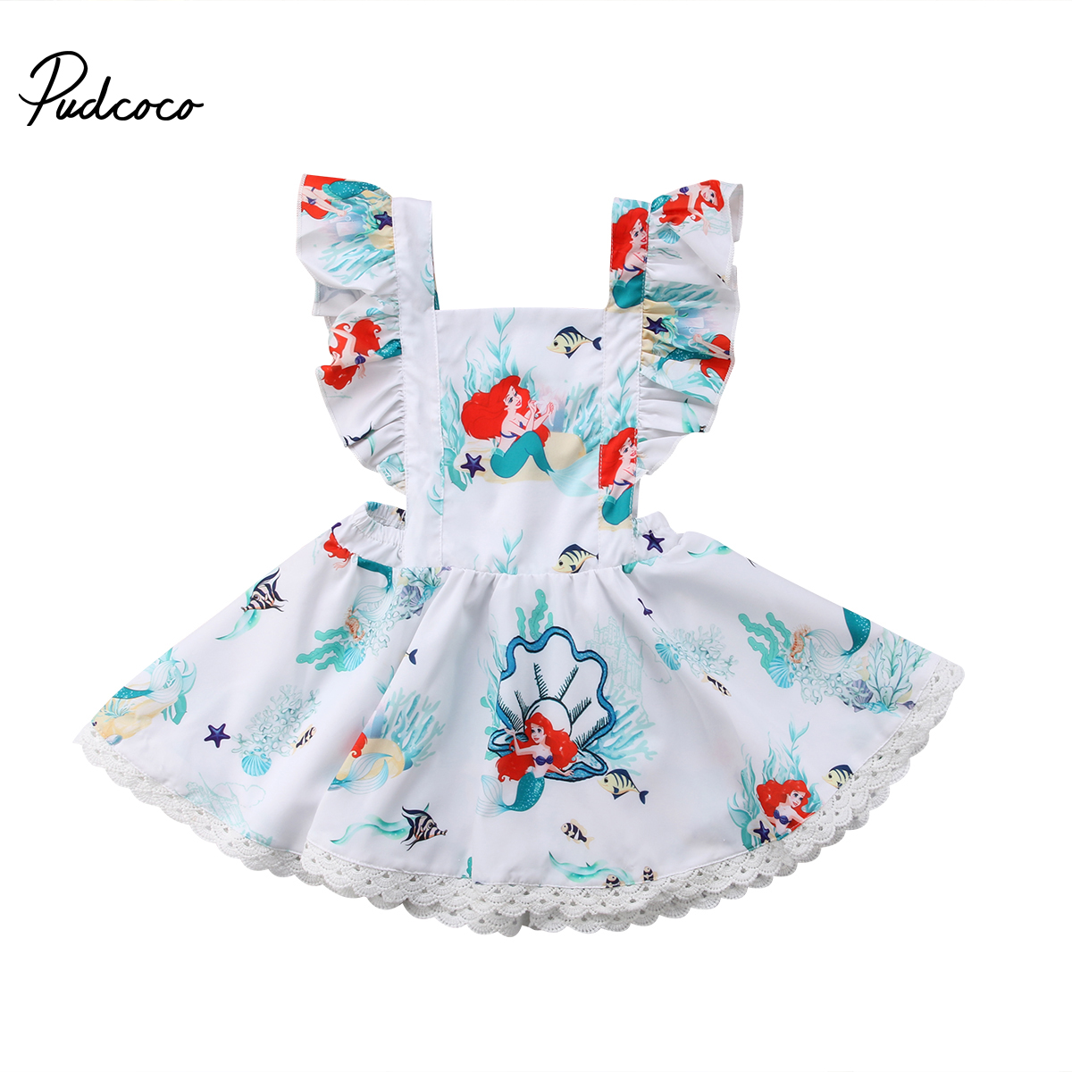 Pudcoco Summer Toddler Baby Kids Girls Dresses Mermaid Backless Cartoon Princess Party Dress Sundress Cotton Elegant Dress 0-5T teenage princess girls dresses 2018 cotton summer green purple for striped party little girls dress long kids sundress
