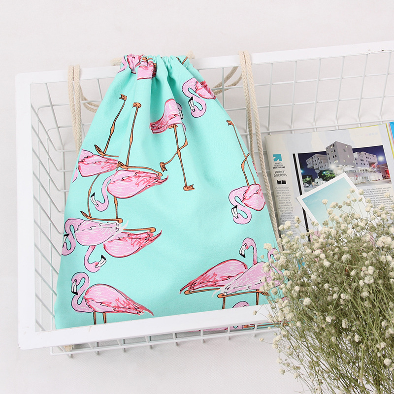 Fashion Girls Shoulder Bags Women Canvas/Cotton Backpack Bag Shoe Travel Pouch Portable Drawstring Cosmetic Storage Bags