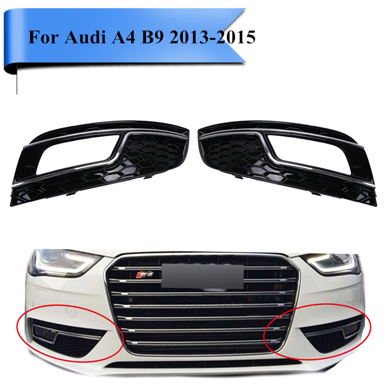 High Quality Chrome Daytime Running Driving Light Fog Light Covers Front Lamp Grill Grille For Audi A4 B9 2013 2014 2015 #PDK581 high quality car styling 2pcs x front fog light lamp side grille cover trims for vw touareg 2011 2012 2013 2014
