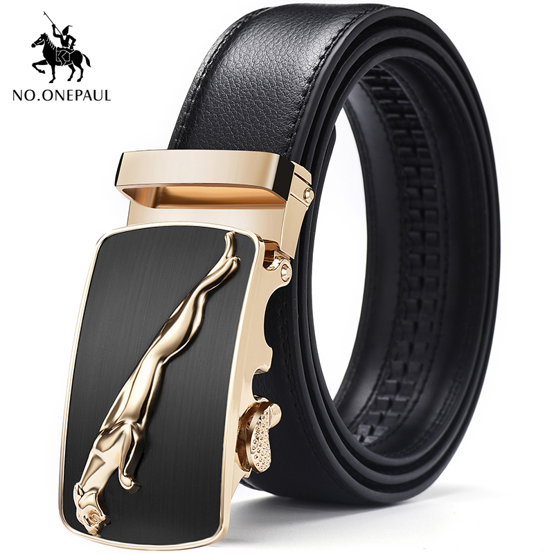 NO.ONEPAUL Men's Formal Wear Fashion Belt Suede Leather With Jaguar Pattern Metal Automatic Buckle To Make Excellent Top Belt