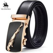 купить NO.ONEPAUL Men's formal wear fashion belt suede leather with Jaguar pattern metal automatic buckle to make excellent top belt дешево