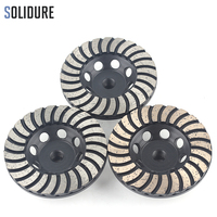 4 inch arbor 3pcs/set M14 turbo diamond grinding disc wheels with Iron backer for grinding stone,concrete and tiles