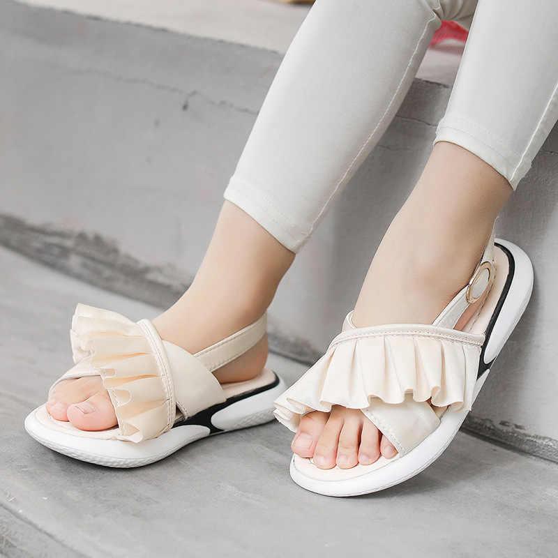 ฤดูร้อน 2019 เด็กใหม่ Ruffles รองเท้าแตะรองเท้าแตะเด็กรองเท้าเด็กสาวหวานรองเท้าแตะสีชมพูยี่ห้อ Beach รองเท้าแตะแฟชั่น