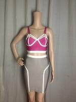 Rayon matériel 2013 New Style Hot Sale mesdames HL robe Bandage deux pièces Sexy Mini robe gros haute qualité