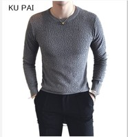 New Korean Men S Autumn And Winter Sweater Slim Round Neck Long Sleeved Shirt T Shirt