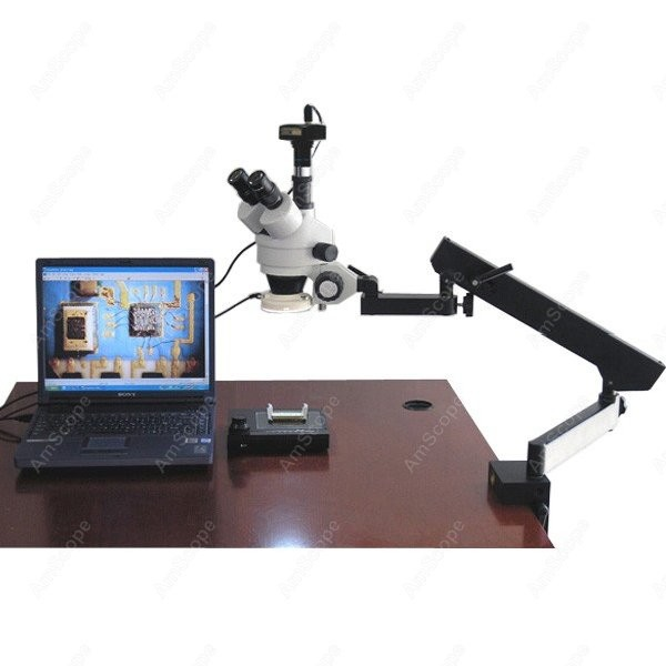 Articulating Zoom Microscope AmScope Supplies 3 5X 90X Articulating Zoom Microscope w Fluorescent Light 1 3MP