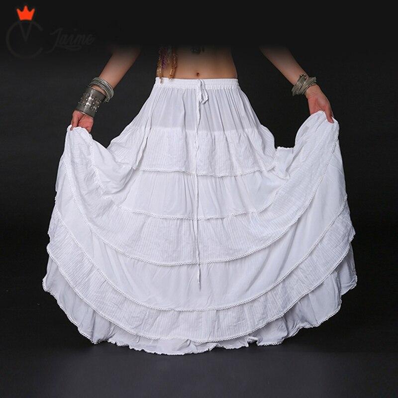 Femmes blanc bas jupe Tribal Bellydance jupe couleur unie Double couches coton jupe plein cercle danse du ventre gitane jupes ATS