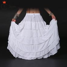Women White bottom skirt Tribal Bellydance Skirt Solid Color Double Layers Cotton Full Circle Belly Dance Gypsy Skirts ATS