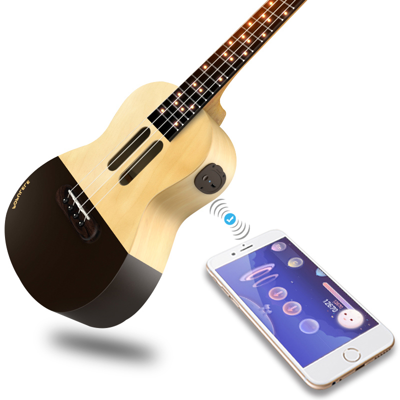 पॉप्यूलर U1 सोप्रानो उकुले कॉन्सर्ट 4 स्ट्रिंग्स 23 इंच ध्वनिक इलेक्ट्रिक स्मार्ट गिटार एपीपी फोन गिटार यूकलिअल फॉर बिगिनर्स
