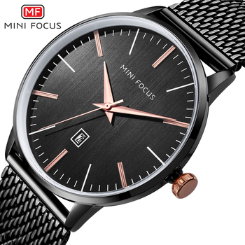 Men's Watches wach Luxury whatch Fashion Business Quartz Men Wristwatch Steel Band Waterproof Clock Horloges Mannens Saat Black image