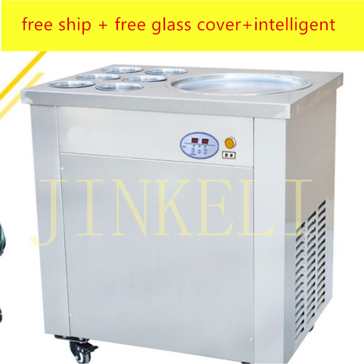 220v/110V CE flat pan fried ice cream roll machine fried ice machine stainless steel freezing ice cream machine with glass cover ce fried ice cream machine stainless steel fried ice machine single round pan ice pan machine thai ice cream roll machine