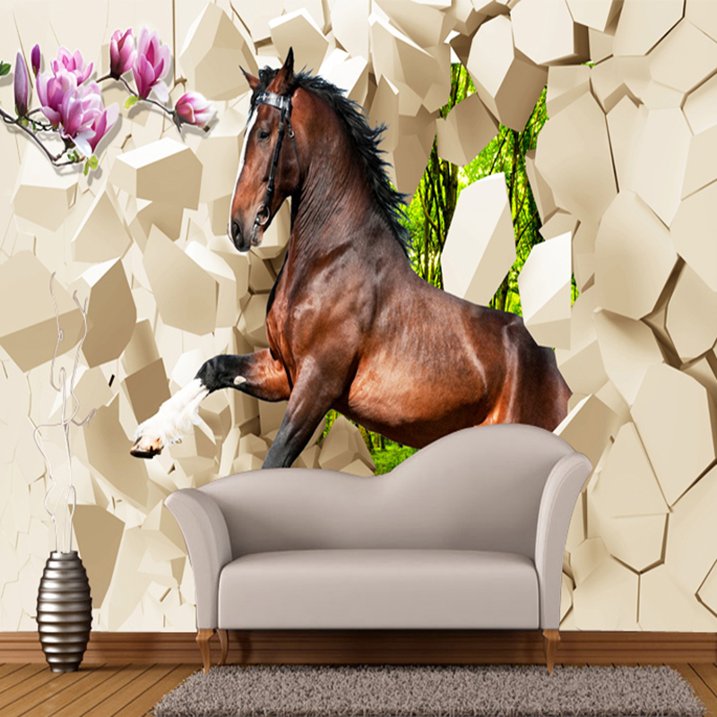 Custom Size 3D Photo Wallpapers Lifelike Animal Horse Study Room Background Modern Home Decor High Quality Non-woven Wall Mural
