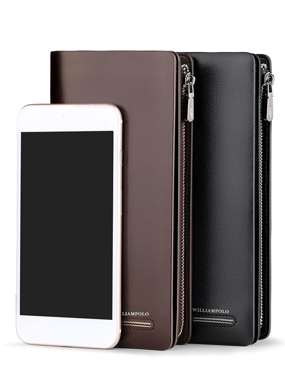WilliamPOLO Top marque hommes portefeuilles à glissière longue pochette portefeuille porte-carte sac à main en cuir véritable organisateur d'affaires téléphone sac à main