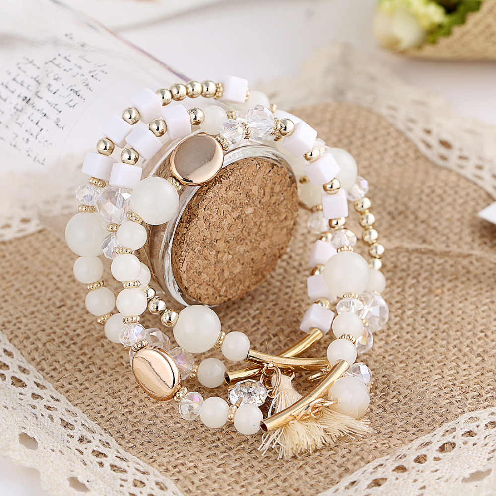 2016 Lucky Hand White Seed Beads Charms Bracelets & Bangles Multilayer Beads Turkish Pulseras For Women Sunner Jewekrt