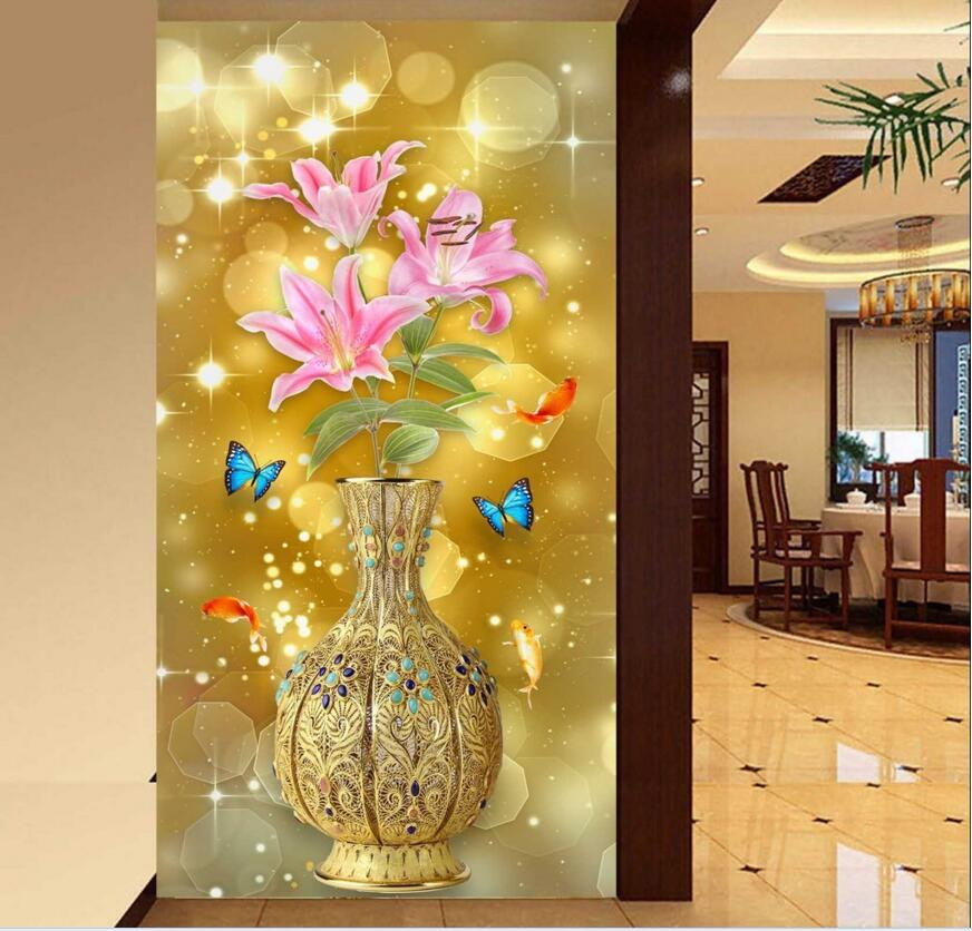 Custom mural photo 3d wallpaper picture Lily flowers Golden vase porch decor painting 3d wall murals wallpaper for living room