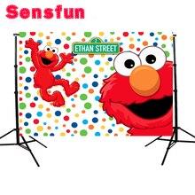 YH031 Sensfun Fondo de dibujos animados de Elmo rojo primer cumpleaños, fondos de foto coloridos de Barrio Sésamo, fiesta de recién nacido, cartel de evento, 7x5 pies