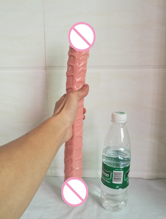 Waterprrof 43cm Ultra Long flesh color Double soft Dildo Sex Products Veined Penis Realistic Sex Toys For Woman And Gay 15 35 double dildo long big realistic penis double penetration sex toy for women sex toys for lesbian couples