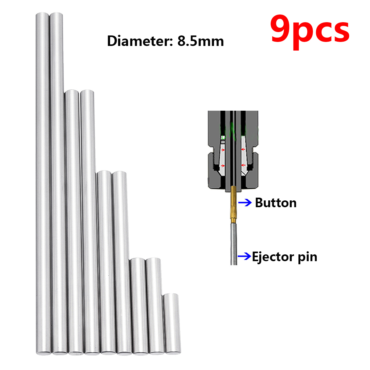9pcs Ejector Pins Set Used To Push Rifling Buttons High Hardness Full Specifications Reamer Kits Machine Tools Accessories Parts
