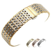 цены High Quality Butterfly Clasp Watchband 18mm 20mm 22mm 24mm Stainless Steel Watch Band Strap Men Silver Rose Gold Bracelet
