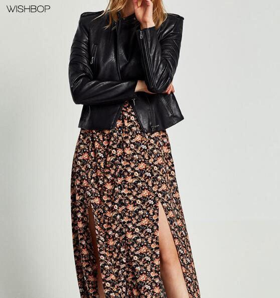 Veste Haut En Col Nouveau Noir Cuir Doublure Longues Manches Rouge Contraste Avec Mode 2017 Faux Snap Épaulettes Wishbop Bouton nw4XxvPv