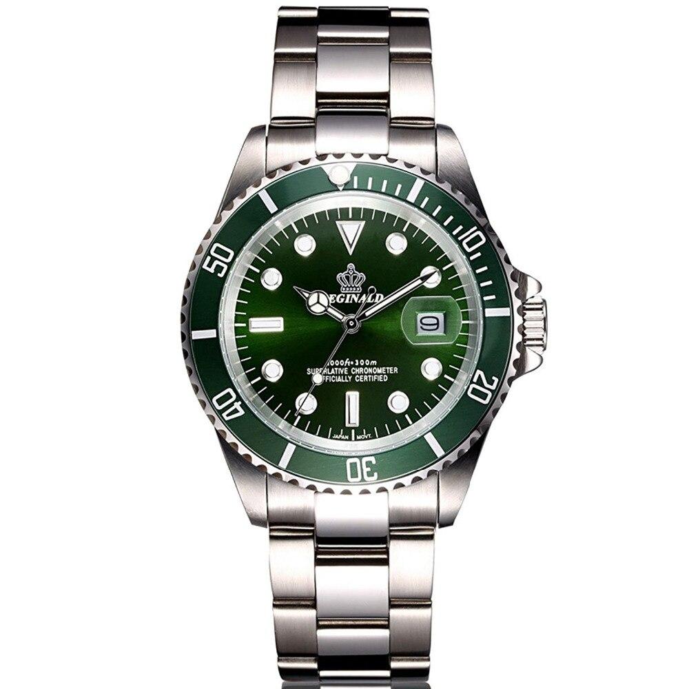 Luxus Reginald Uhr Männer Drehbare Lünette GMT Sapphire Glas Datum Edelstahl Frauen Herren Sport Quarz Uhren schnäppchen waren