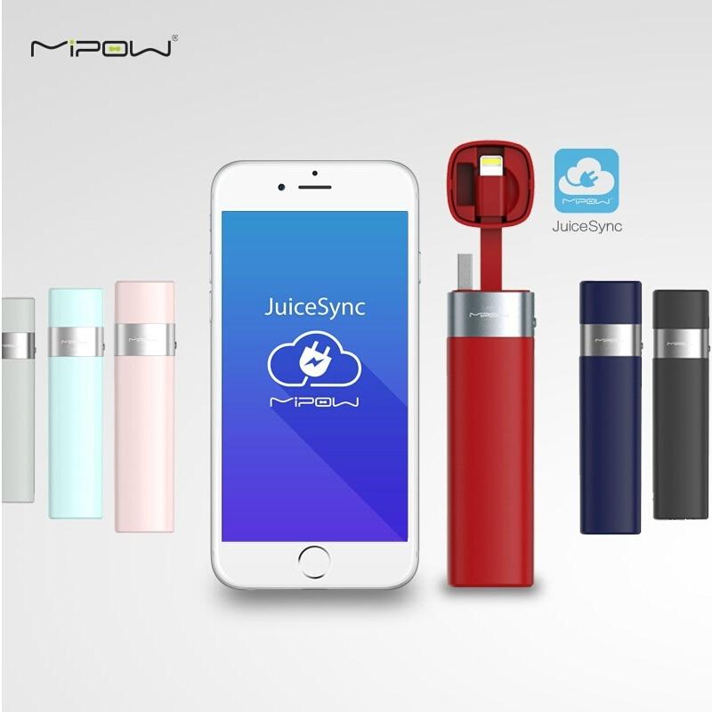 imágenes para MIPOW Cargador de Batería del Banco de Potencia 3000 mAh Inteligente APP Mini Portátil con MFI Cable relámpago para el iphone 6 6 S 7 Más 5 5S iPod de Apple