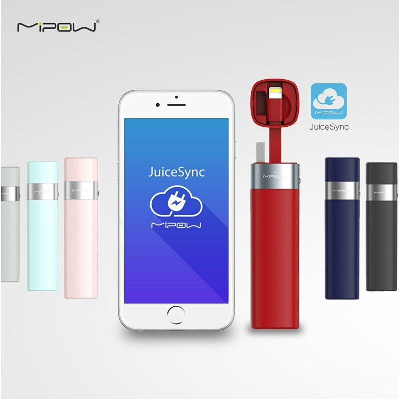 MIPOW Power Bank Battery 3000mAh Smart APP Portable Mini Charger with MFI Lightning Cable for iPhone 6 6S 7 8 Plus iPod Apple