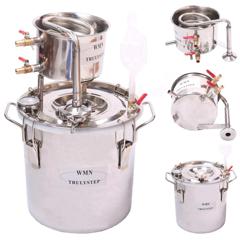 Super New 3 Gal / 12 Litres Alcohol Whisky Water Distiller Moonshine Still Stainless Steel Boiler & Thumper Keg Spirits Brew Kit