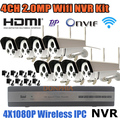 8CH NVR Kits Full HD Wifi IP Camera 1080P Wireless Weahterproof Outdoor + 8 Channel NVR Recorder HDMI Onvif CCTV Camera System
