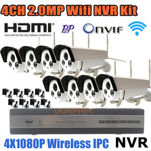 8-КАНАЛЬНЫЙ NVR Комплекты Full HD Wi-Fi Ip-камера 1080 P Беспроводной Weahterproof открытый + 8 Канала Nvr HDMI Onvif CCTV Камеры Системы