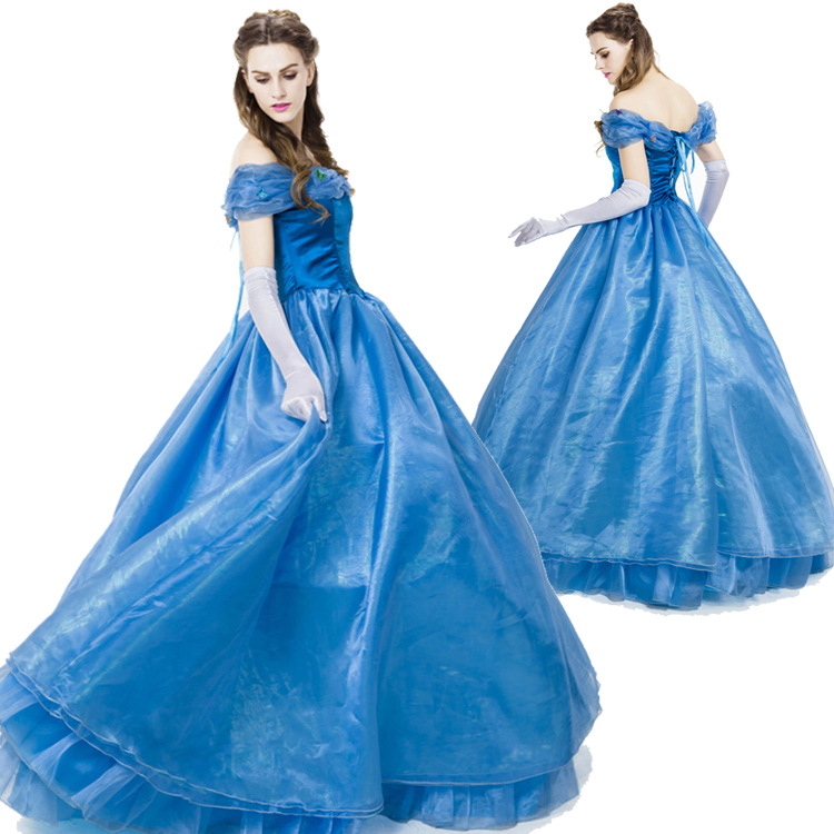 High Quality Deluex Cinderella Princess Cosplay Costume Adult Women Party Gown Halloween Fancy Dress