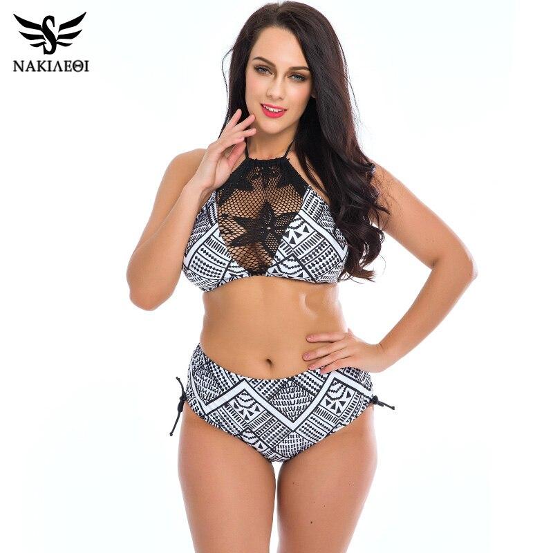 2016 Sexy High Neck Bikini Women Swimsuit Plus Size Swimwear Lace Retro Halter Top Bikini Set Printed Summer Beach Wear Suit 4XL swimsuit top
