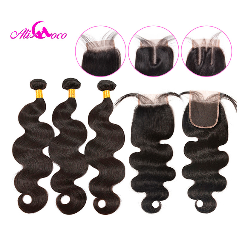 Ali Coco Brazilian Body Wave Bundles With Closure Natural color/ #2/#4 100% Human Hair Weave Bundles With Closure Non-Remy Hair