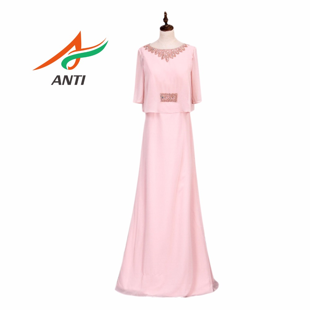 ANTI New Design Pink Mother Of The Bride Dresses With Jacket Vestido Noiva Formal Dresses Plus Size Mother Bride Gown HQY5061