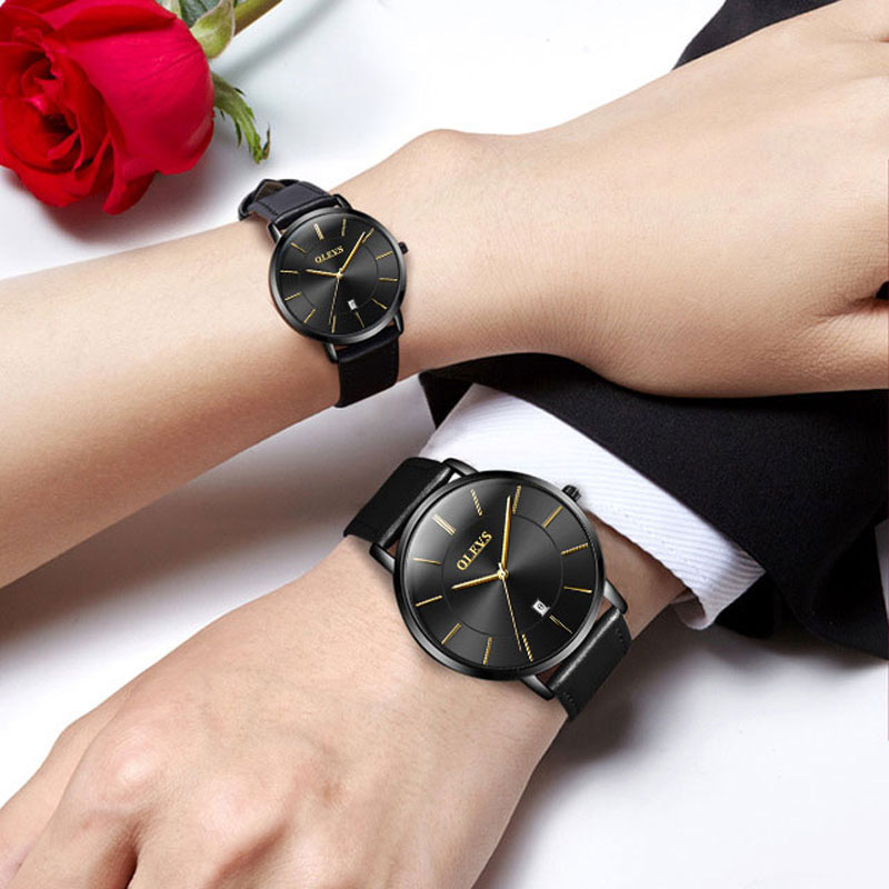 2018 New Couple Watches Fashion Romantic Casual Quartz Watches Calendar Display Men Wrist Watch Leather Waterproof Ladies Watch