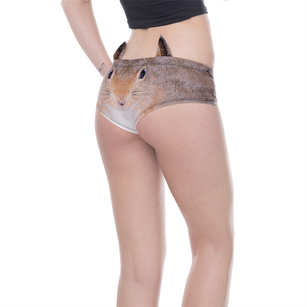 Fashion Animal Ear Underwear Squirrel 3D Printing Sexy Panties Woman Underwear