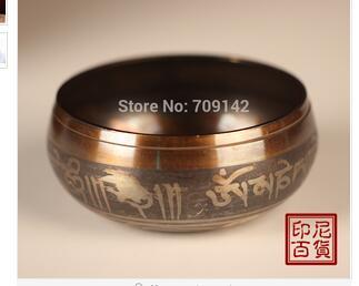 Decoration Brass Diameter  6Inch 150mm Tibetan Buddhism Cuprum Mantra Bronze copper singing bowls