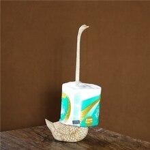 Pig Iron Swan Statue Roll Paper Dispenser Decorative Metal Swan Tissue Holder Craft Ornament Washroom Convenience Accessories
