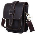TIDING Men small messenger bag cowhide leather waist pack Multifunctional vintage style NEW 3104