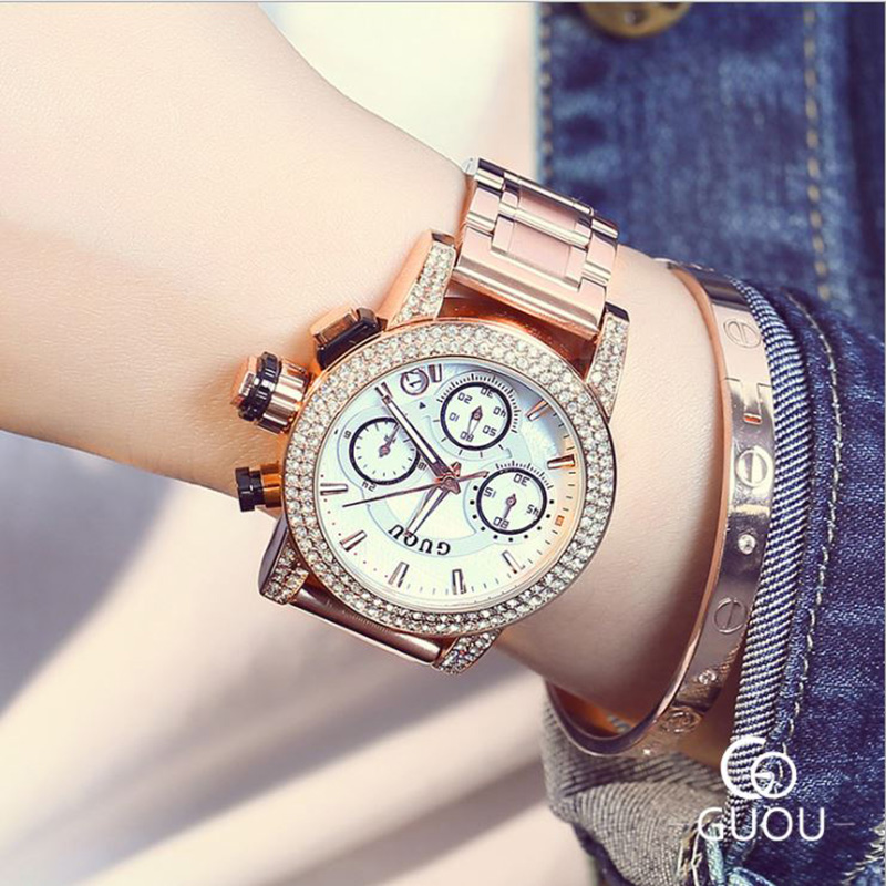 GUOU Women's Watch Fashion Rose Gold Watchband Ladies Watch Calendars Luxury Diamond Women Watches Full Steel Clock reloj mujer