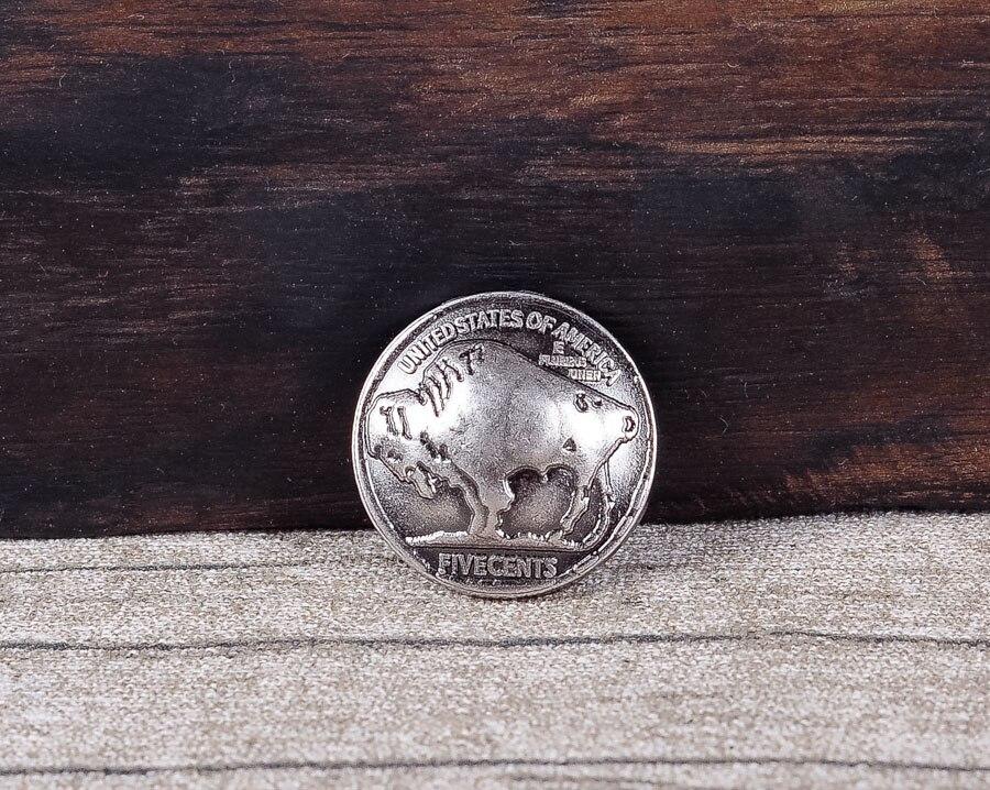 10pc 22*22MM Buffalo Nickel Head Handmade Leathercraft American Coin Belt Conchos Rivet Back