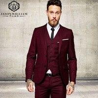 LN073 רשמי חתן חליפות חתונה גברים עיצוב חדשים בורדו שני כפתורי חליפת טוקסידו חליפת גברים מעיל 3 Pieces תלבושות Homme