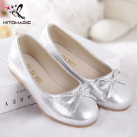 HITOMAGIC Girls Shoes Princess Girls Toddler Shoes For Girl Leather Glitter Flats Summer Footwear Wedding Children