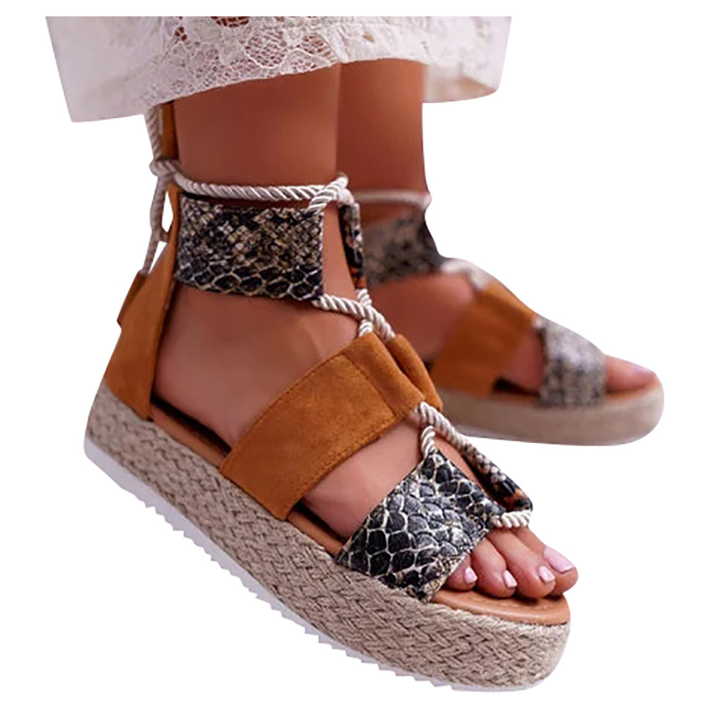 SAGACE Women Sandals Wedges Sandals Platform Wild Open Toe Snake Print Thick Bottom Lace-Up Roman Sandal Zapatos De Mujer 2019