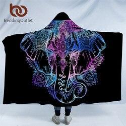 BeddingOutlet Bohemian Elephant Hooded Blanket for Adults Sherpa Fleece Lotus Flower Wearable Picnic Bed Throw Blanket 150x200cm