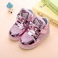 Hot-selling Crianças sapatos Tênis Da Moda Meninas Novo Bebê Meninas Princesa Sapatos Crianças Sapatos Com Luz Diodo Emissor de Luz Tamanho 21-30