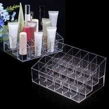 24 Grid Clear Acrylic Makeup Organizer Storage Box Cosmetic Box Lipstick Jewelry Case Holder Display Stand Makeup Storage Holder(China)