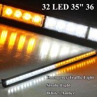 36 32LED Emergency Traffic Light Bar Auto Professional Emergency Lights Amber White Color 32W 12V Input